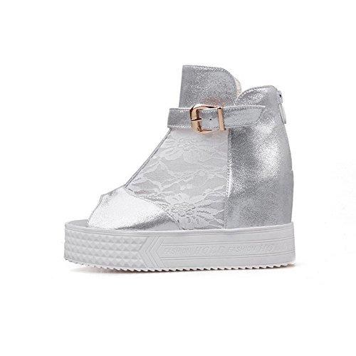 High Open Sandalen AllhqFashion Blend Damen Materialien Heels Zipper Toe Silber Solide cq00pwCOS