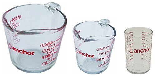 Savings Bundle: Anchor Hocking Glass Open Handle Measuring Cups 3 Piece Set: 16oz (2 Cups), 8oz (1 Cup) and 5oz.