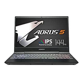 "AORUS 5 NA-7US1021SH 15"" Thin Bezel LG 144Hz FHD IPS LCD, i7-9750H, NVIDIA GeForce GTX 1650, Samsung 8GB RAM, Intel M.2 PCIe NVMe 256GB SSD, 1TB HDD, RGB Keyboard, Win10, Ultra Slim Gaming Laptop (B07RYSSQFL) 