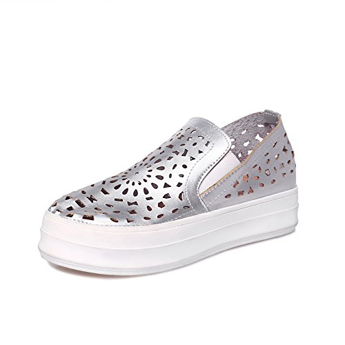 Amoonyfashion Womens Pu Talons Bas Rond Fermé Orteils Solides Pompes-chaussures Argent