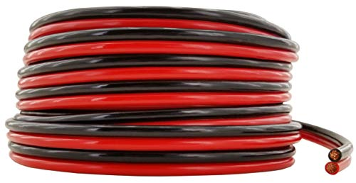 GS Power Ultra Flexible 10 AWG (American Wire Gauge) 50 feet 99.9% OFC Stranded Oxygen Free Copper Red/Black Bonded Zip Cord Speaker Cable for Car Audio Amplifier Auto Harness LED - 10 Power Wire Gauge