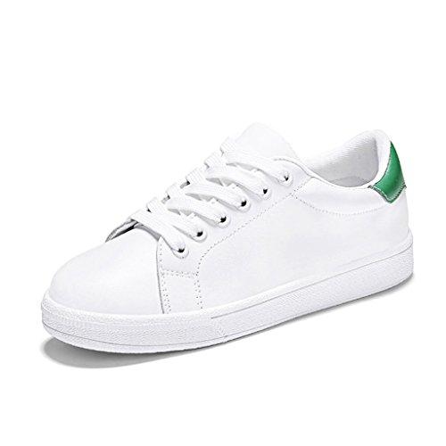 HWF Chaussures femme Printemps blanc Sports Plate plat chaussures de sport femmes chaussures College seul chaussures femme ( Couleur : Blanc bleu , taille : 40 ) White Green