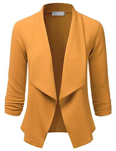 EIMIN Women's Lightweight Stretch 3/4 Sleeve Blazer Open Front Jacket Mustard 1XL