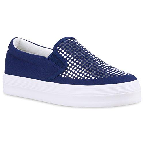 Stiefelparadies Damen Sneaker Slip Ons mit Plateau Glitzer Flandell  Weiss Glitzer