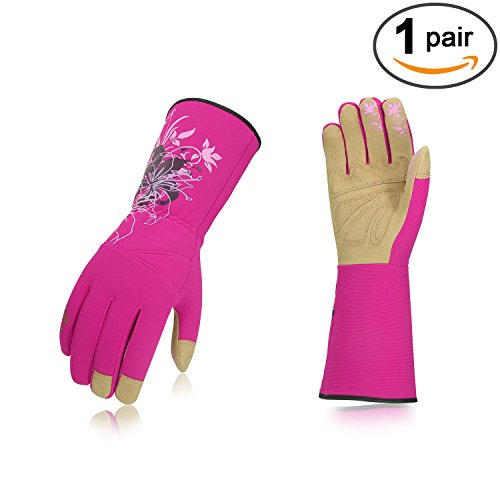 Vgo Ladies' Synthetic Leather Long Cuff Rose Garden Gloves(1Pair,Size M,Purple (Synthetic Rose)