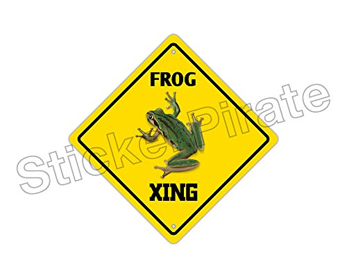 Frog Sign - StickerPirate Frog Crossing Funny Metal Novelty Sign Aluminum