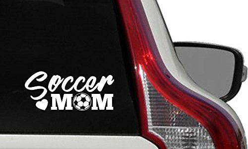 Mom Soccer Heart Car Vinyl Sticker Decal Bumper Sticker for Auto Cars Trucks Windshield Custom Walls Windows Ipad Macbook Laptop Home and More White Color