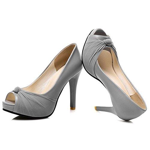 FANIMILA Mujer Moda Sin Cordones Tacon alto Delgado Sandalias Peep Toe Zapatos Gris