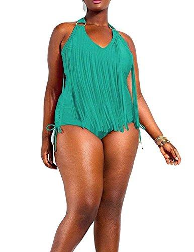 Creabygirls Women Plus Size Tassel One Piece Swimsuits Swimwear Monokini (X-Large, Deep Green)