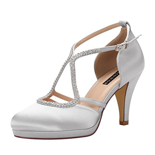 ERIJUNOR E0260D Women Comfort Low Heel Closed-Toe Ankle Strap Platform Satin Bridal Wedding Shoes Sliver Size 5]()