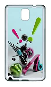 3D Abstract Art TPU Custom Samsung Galaxy Note 3/Note III/N9000 Case and Cover - White