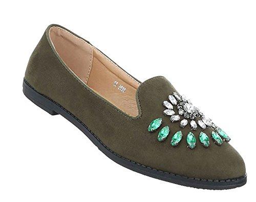 Damen Schuhe Halbschuhe Slipper Khaki