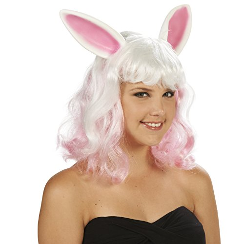 [Pink and White Bunny Ears Adult Wig] (Forest Animal Halloween Costumes)