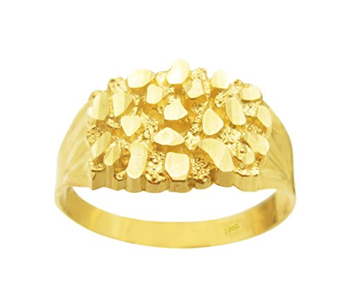 AMZ Jewelry 10k Gold Solid Nugget Ring Men's Gold Ring