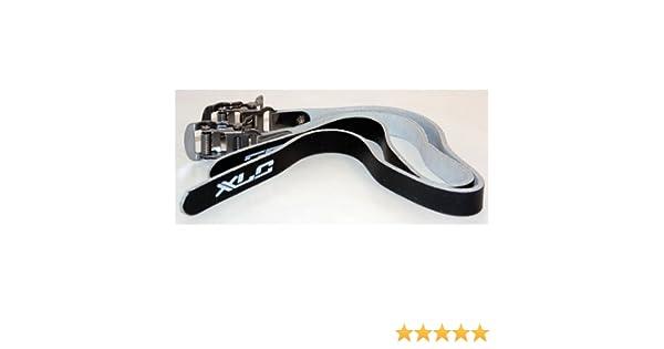 Black New XLC Leather Pedal Toe Straps Pair 2 Straps