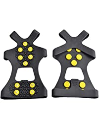 Ice Grips, Traction Cleats, Ice Cleat, Easy Slip On, Outdoor Durable, 10 Steel Studs, Stretchable, Prevent Slipping from Ice/Snow, Extra Studs Included in Each Package.