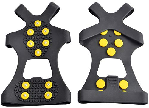 WAYPORTM Ice Grips, Traction Cleats, Ice Cleat, Easy Slip On, Outdoor Durable, 10 Steel Studs, Stretchable, Prevent Slipping from Ice/Snow (X-Large)