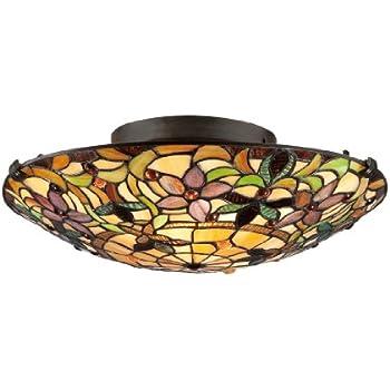 Quoizel TF1396SVB, Tiffany Round Glass Flush Mount Ceiling Lighting, 2LT, 130 Watts, Bronze