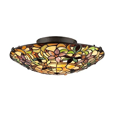 """Quoizel TF1396SVB Tiffany Flush Mount Ceiling Lighting, 2-Light, 150 Watts, Vintage Bronze (6""""H x 17""""W) - TIFFANY FLUSH MOUNT LIGHT DIMENSIONS: 6"""" High x 17"""" Wide, Weight: 4.41 LBS MEDIUM BASE LIGHT SOCKET: 2-75 Watt Incandescent Bulbs, 150 Total Watts, Does Not Include Bulb(s); E26 Socket Compatible with Incandescent, CFL, Halogen or LED Bulbs Full Range Dimming when used with Dimmable Bulb and Dimmer Switch INSTALLATION: Hardware to Mount Fixture to an Existing Junction Box Included (Junction Box Not Included) - kitchen-dining-room-decor, kitchen-dining-room, chandeliers-lighting - 41dtXSLeGnL. SS400  -"""