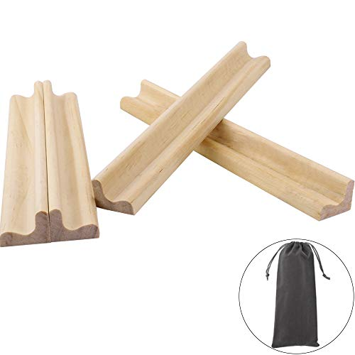 CEWOR 4pcs Replacement Wood Racks Mahjong Tile Racks Wooden Replacement Letter Holders,with a ()
