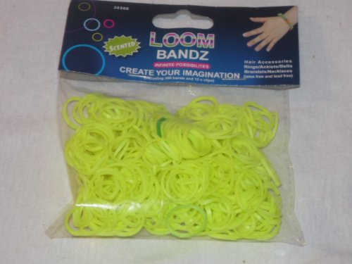 D.I.Y. / LOOM BANDS / LOOM BANDZ-- SCENTED BRIGHT NEON YELLOW 300 COUNT BAG- RARE COLORS