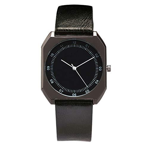 - Simple Women Watches Leather Strap Black Dial Quartz Wrist Watch Unisex Men Hour Gift Clock reloj,All Black