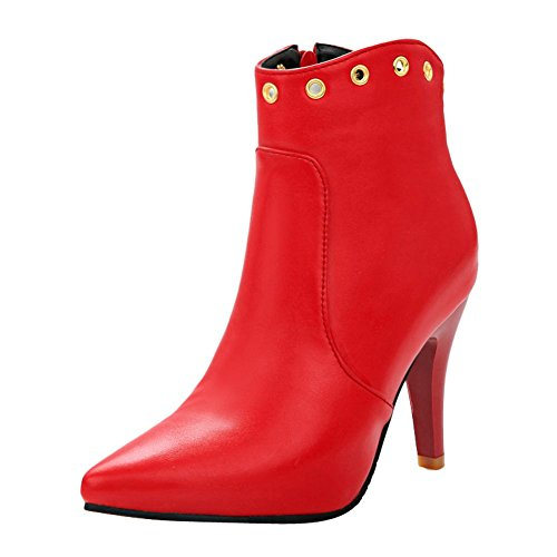 Boots toe Mee Red Womens Ankle heel High Pointed Sexy high Shoes HfHnqwrYz