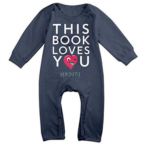 PCY Newborn Babys Boy's & Girl's Pewdiepie Long Sleeve Romper Bodysuit Outfits For 6-24 Months Navy Size 24