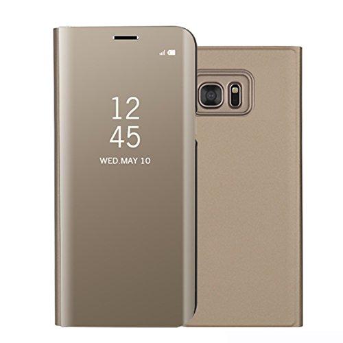 Funda Samsung Galaxy S6 Edge SM-G925F, Visión Clara Pie Smart Cover Soporte Mirror Protección Completa Rígida Borde ,Sunroyal Multifuncional Cubierta del espejo Permite ver Claramente la Clear Standin Oro