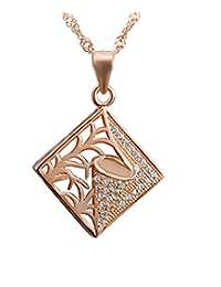 Epinki Women Girls 925 Sterling Silver Pendant Necklace Square Tree Cubic Zirconia