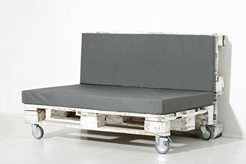 PALEMARE Palettenkissen Matratzenkissen RG50 Kunstleder 120x80x10cm (Nur Sitzkissen) Bezug Grau waschbar