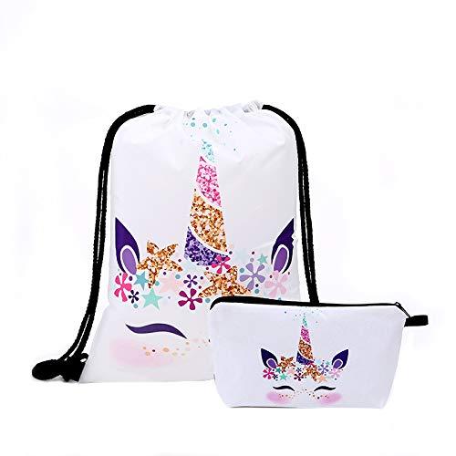 Fanovo Pink Rainbow Unicorn Backpack, Mini Travel Backpack, Shiny Backpack for Girls, Super Cool Leather Daypack + Unicorn/Bracelet/Inspirational Necklace/Ring (A - Drawstring Set H)