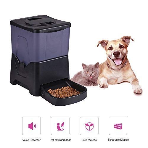 Automatic Cat Feeder Reviews - 10L Automatic Pet Feeder Cats Dogs Rabbits Mouse Bowl Timer & Voice Recorder,Food Dispenser Easy to Clean