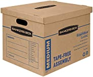Bankers Box SmoothMove Classic Moving Boxes, Tape-Free Assembly, Easy Carry Handles, Medium, 18 x 15 x 14 Inch