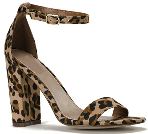 Chunky Leopard (Women's Open Toe Chunky Covered Block High Heel Ankle Strap Sandals Light Leopard Suede 8)