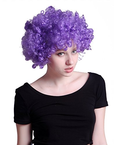 HDE Neon Color Afro Curly Clown Halloween Costume Party Wig Fake Goofy Unisex Hair (Purple)