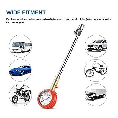 CZC AUTO Accurate Mechanical Tire Pressure Gauge, Straight on Foot Dual Head Truck Air Gage, Heavy Duty Dually Chucks 2
