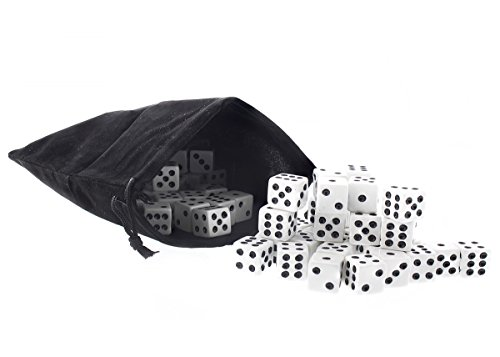 - Juvale Bulk Dice - 100 Piece Set - 16mm Dice with Dice Bag - Black & White Traditional Dice for Casinos, Board Games, Dice Games - 5/8- Inches