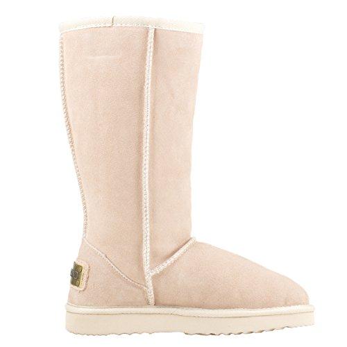 Alta caña Zapatos Botas Shenduo de de DA5815 Invierno Planas Piel para Mujer Forradas Arena clásicas gSzwCqzx8