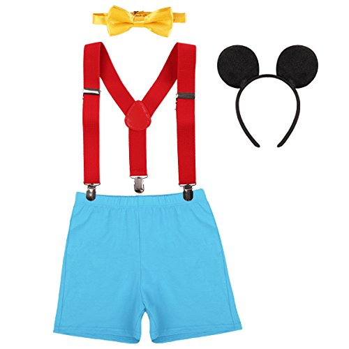 Halloween Costume Baby Boy 1st Birthday Cake Smash Outfits Party Suspenders Diaper Nappy Cover Bow Tie Mouse Headband 3pcs Clothes Set Red+Blue -