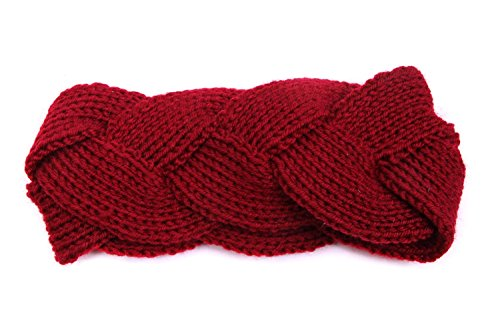 Girls Braided Crochet Headband Braid Head Wrap - Burgundy (Braided Headwrap)
