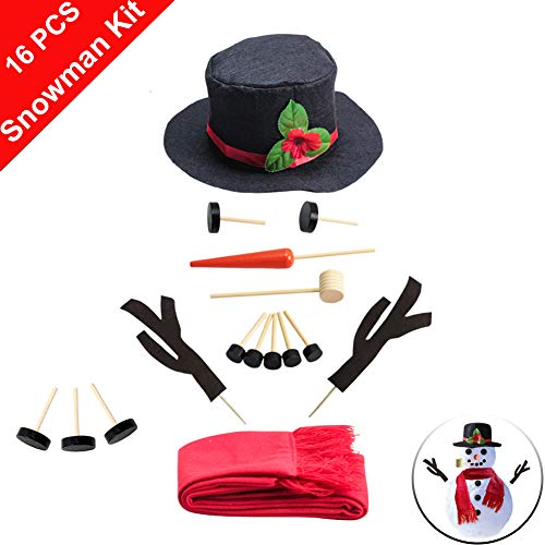 HUAYUARTS 16PCS Own Snowman Kit for Kids Christmas Toys DIY Outdoor Holiday Game Indoor Handmade Snowman Making Kit Winter Party Decorating Snowman Dress Up Set