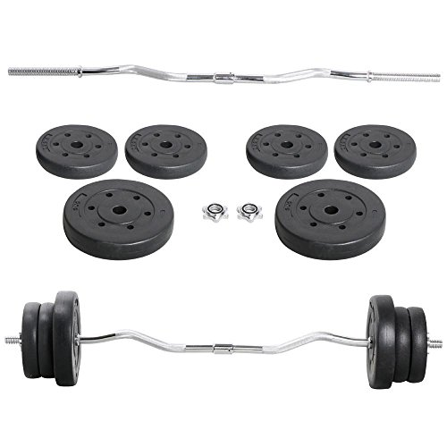 Yaheetech Olympic 55lb Lifting Exercise Barbell Weight Set EZ Curl Bar 1inch w/Two 11 lb. Weights, Four 5.5 lb. Weights, 2 Lock Clamp Collars For Sale