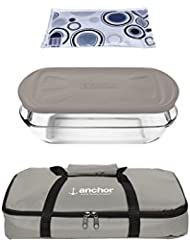 Anchor Hocking Oven Basics 4Piece Bake-N-Take Bakeware Set, , Pepper Gray