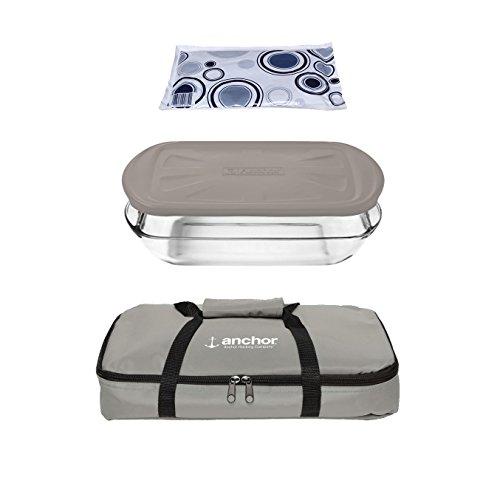 Anchor Hocking Oven Basics 4Piece Bake-N-Take Bakeware Set, , Pepper Gray