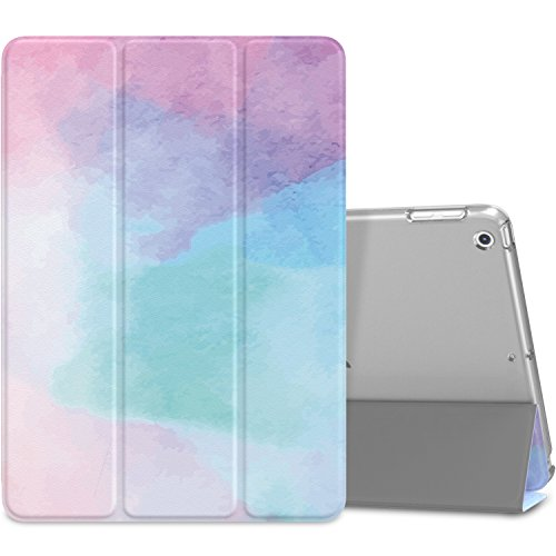 MoKo Case Fit 2018/2017 iPad 9.7 6th/5th Generation - Slim Lightweight Smart Shell Stand Cover with Translucent Frosted Back Protector Fit Apple iPad 9.7 Inch 2018/2017, Water Color(Auto Wake/Sleep)
