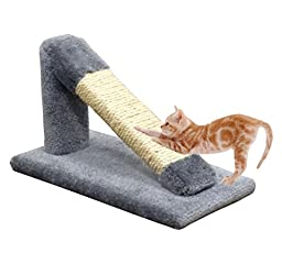 USA Made Angled Cat Scratching Post Gray Cat Pole Sisal & Carpet