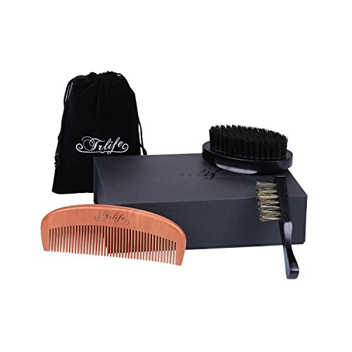 TRLIFE Boar Bristles Beard Brush and Comb Grooming Kit Set for Men Handmade Peach Wood Pocket Beard Brush and Mustache for Shaving Styling With Gift Box and Carrying Bag