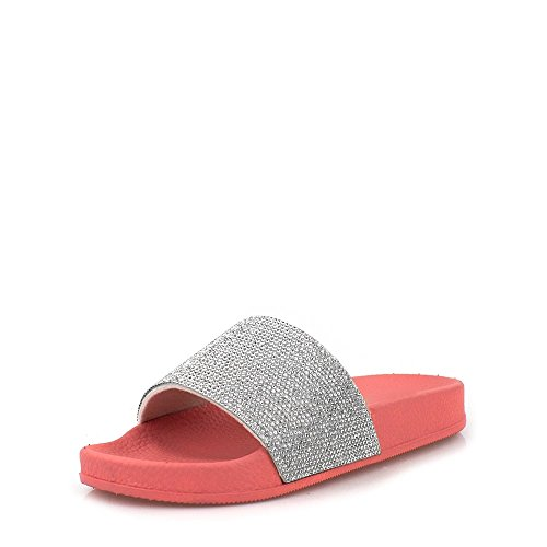 Diamante On Flat Mule Pink With Trim Slip Tammy Ladies qtpv7fY