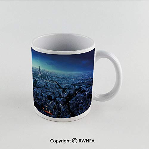 (11oz Unique Present Mother Day Personalized Gifts Coffee Mug Tea Cup White Cityscape,Skyline at Sunset France European Parisian Landmark Travel Destination Monochrome,Navy Blue Funny Ceramic Coffee T)